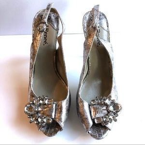 J.Renee Silver Slingback with Gemstone Buckle